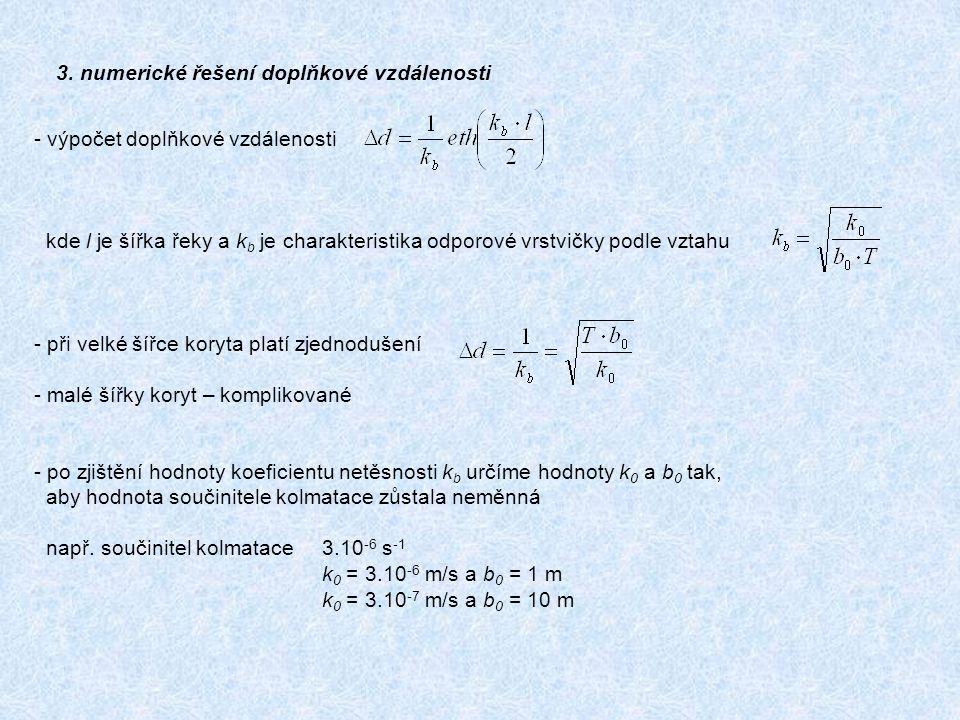 - výpočet doplňkové vzdálenosti kde l je šířka řeky a k b je charakteristika odporové vrstvičky podle vztahu - při velké šířce koryta platí zjednodušení - malé šířky koryt – komplikované - po zjištění hodnoty koeficientu netěsnosti k b určíme hodnoty k 0 a b 0 tak, aby hodnota součinitele kolmatace zůstala neměnná např.