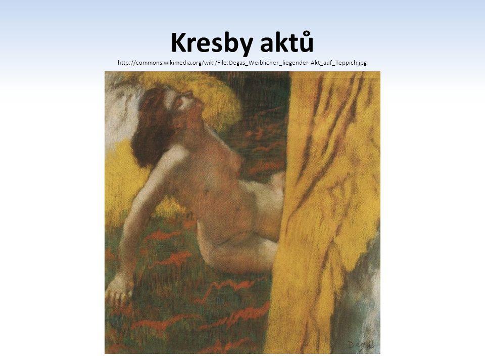 Kresby aktů http://commons.wikimedia.org/wiki/File:Degas_Weiblicher_liegender-Akt_auf_Teppich.jpg