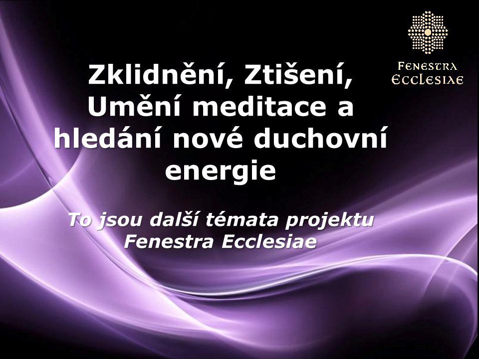 Zklidnění, Ztišení, Umění meditace a hledání nové duchovní energie To jsou další témata projektu Fenestra Ecclesiae