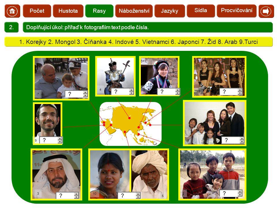  HustotaRasyNáboženstvíJazykyPočet 2.Doplňující úkol: přiřaď k fotografiím text podle čísla. 7 10 16 5 2 8 64 9 3 1. Korejky 2. Mongol 3. Číňanka 4.