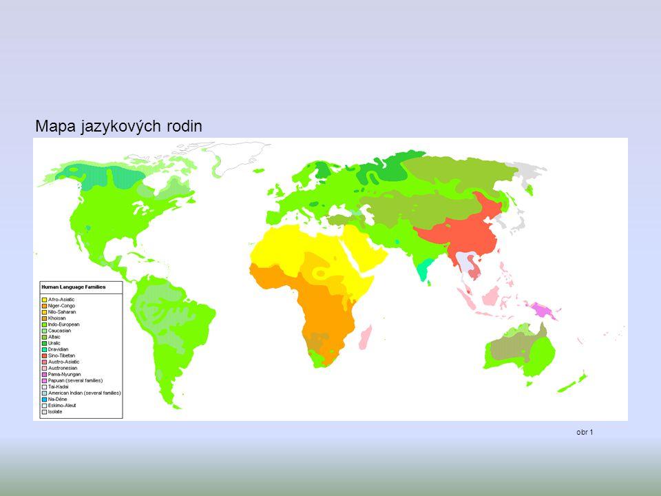 Mapa jazykových rodin obr 1
