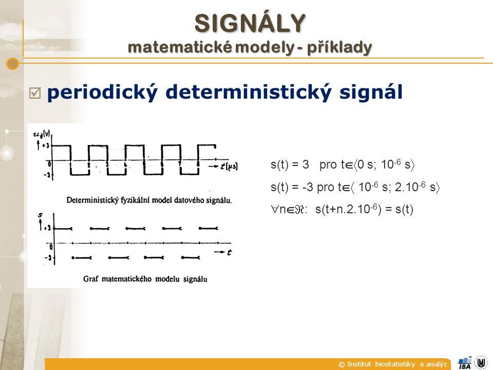 © Institut biostatistiky a analýz  periodický deterministický signál s(t) = 3 pro t  0 s; 10 -6 s  s(t) = -3 pro t  10 -6 s; 2.10 -6 s   n  n
