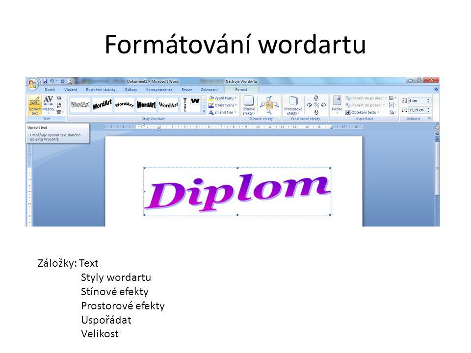 Formátování wordartu Záložky: Text Styly wordartu Stínové efekty Prostorové efekty Uspořádat Velikost