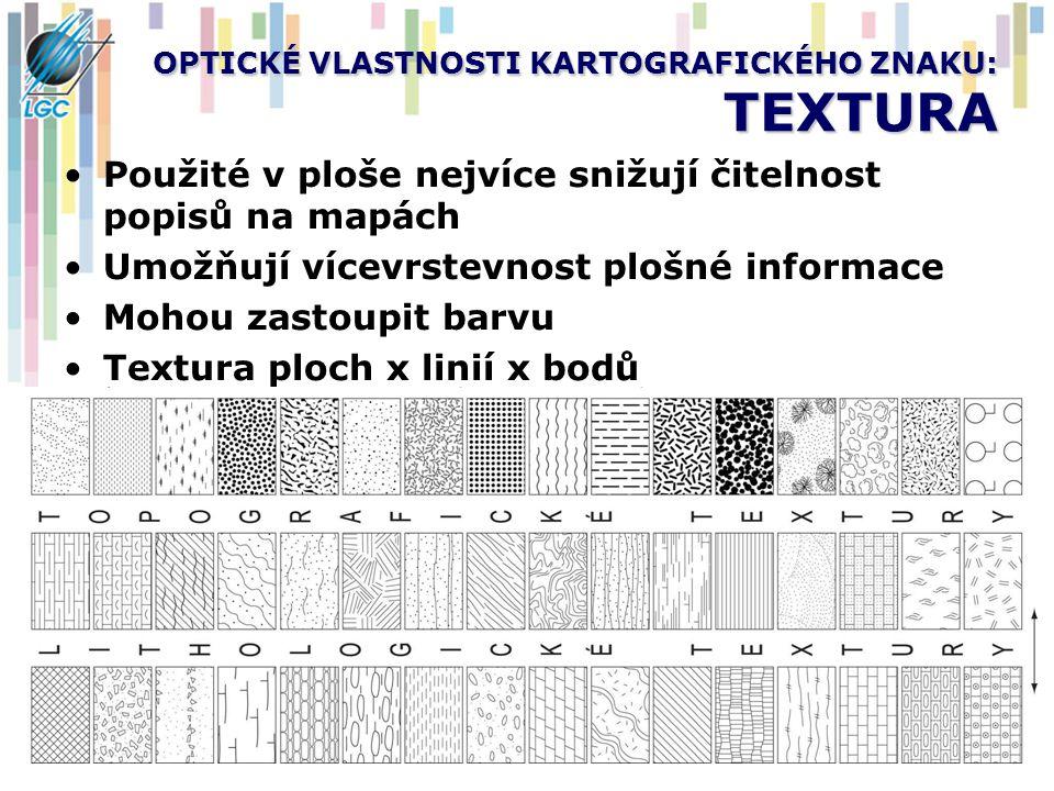 OPTICKÉ VLASTNOSTI KARTOGRAFICKÉHO ZNAKU: TEXTURA Použité v ploše nejvíce snižují čitelnost popisů na mapách Umožňují vícevrstevnost plošné informace Mohou zastoupit barvu Textura ploch x linií x bodů