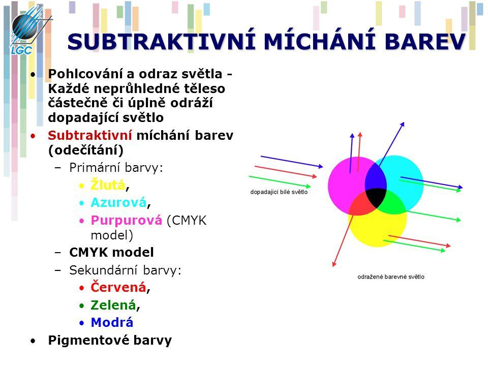SUBTRAKTIVNÍ MÍCHÁNÍ BAREV Pohlcování a odraz světla - Každé neprůhledné těleso částečně či úplně odráží dopadající světlo Subtraktivní míchání barev (odečítání) –Primární barvy: Žlutá, Azurová, Purpurová (CMYK model) –CMYK model –Sekundární barvy: Červená, Zelená, Modrá Pigmentové barvy