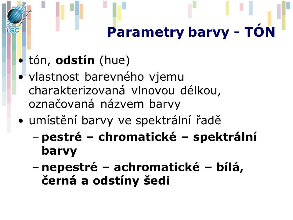 Parametry barvy - TÓN tón, odstín (hue) vlastnost barevného vjemu charakterizovaná vlnovou délkou, označovaná názvem barvy umístění barvy ve spektráln