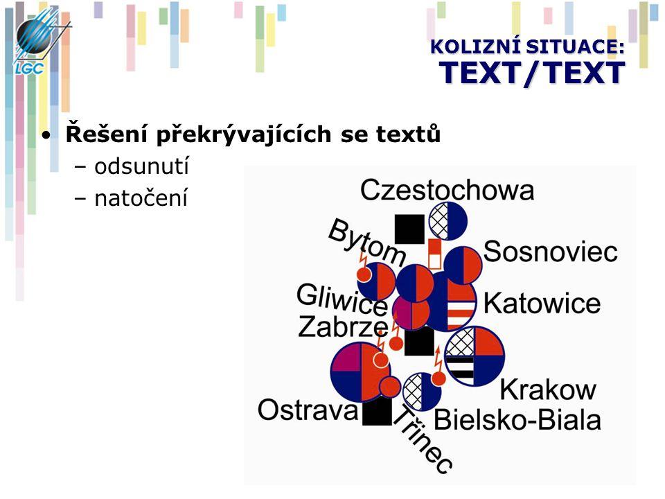 KOLIZNÍ SITUACE: TEXT/TEXT Řešení překrývajících se textů –odsunutí –natočení