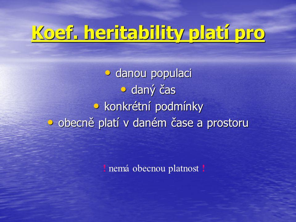 Koef. heritability platí pro danou populaci danou populaci daný čas daný čas konkrétní podmínky konkrétní podmínky obecně platí v daném čase a prostor