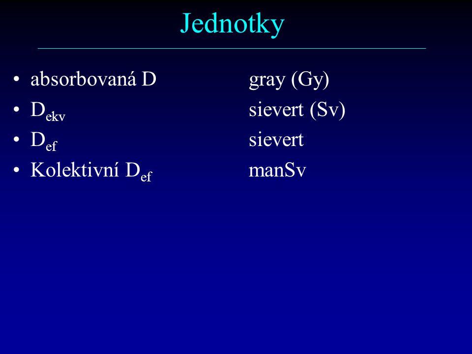 Jednotky ––––––––––––––––––––––––––––––––––––––––––––––––––––––––––– absorbovaná Dgray (Gy) D ekv sievert (Sv) D ef sievert Kolektivní D ef manSv