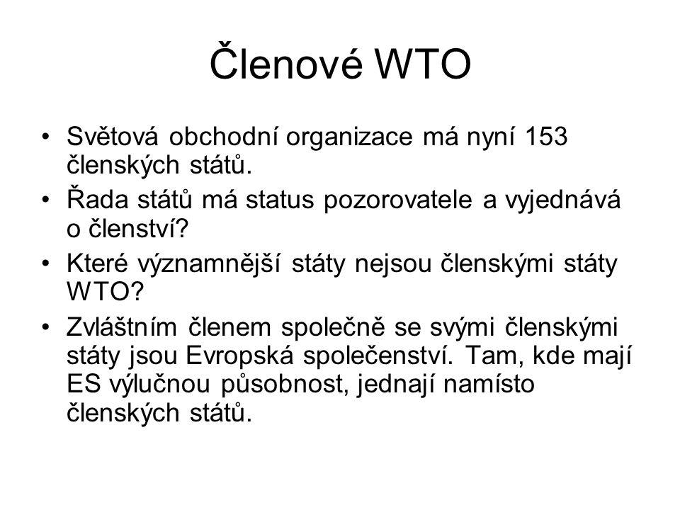 Členové WTO Světová obchodní organizace má nyní 153 členských států.