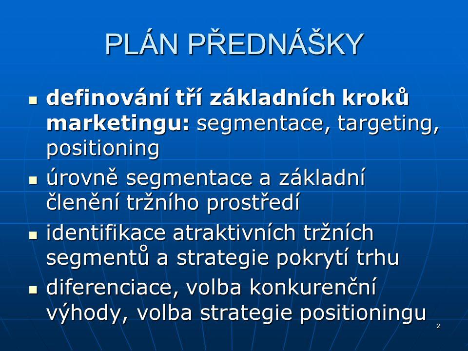 2 PLÁN PŘEDNÁŠKY definování tří základních kroků marketingu: segmentace, targeting, positioning definování tří základních kroků marketingu: segmentace
