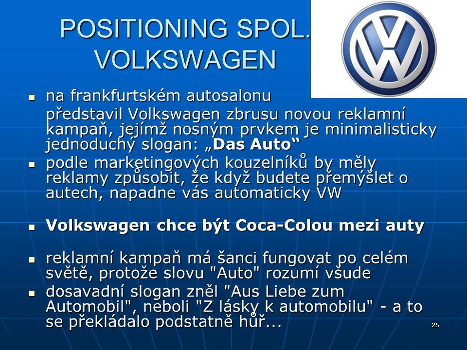 25 POSITIONING SPOL. VOLKSWAGEN na frankfurtském autosalonu na frankfurtském autosalonu představil Volkswagen zbrusu novou reklamní kampaň, jejímž nos