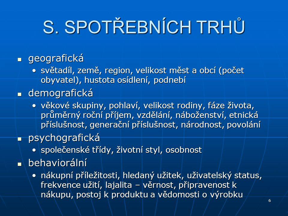 17 Firemní mar.mix Trh Masový nedifer. marketing Mar.