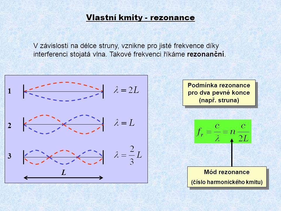 Vlastní kmity - rezonance V závislosti na délce struny, vznikne pro jisté frekvence díky interferenci stojatá vlna. Takové frekvenci říkáme rezonanční