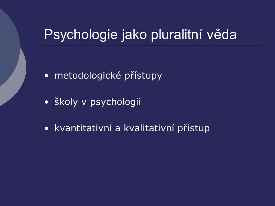 Psychologie jako pluralitní věda metodologické přístupy školy v psychologii kvantitativní a kvalitativní přístup