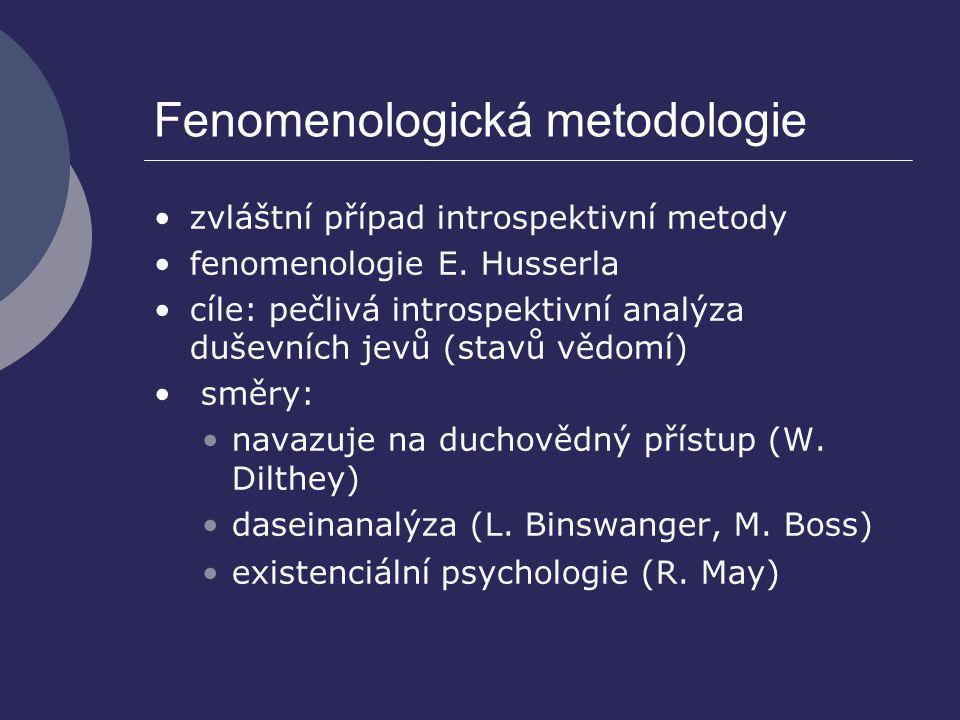 Fenomenologická metodologie zvláštní případ introspektivní metody fenomenologie E. Husserla cíle: pečlivá introspektivní analýza duševních jevů (stavů