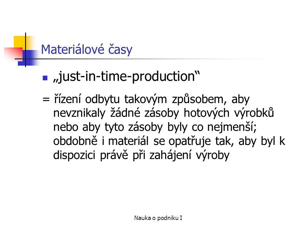 """Nauka o podniku I Materiálové časy """"just-in-time-production = řízení odbytu takovým způsobem, aby nevznikaly žádné zásoby hotových výrobků nebo aby tyto zásoby byly co nejmenší; obdobně i materiál se opatřuje tak, aby byl k dispozici právě při zahájení výroby"""