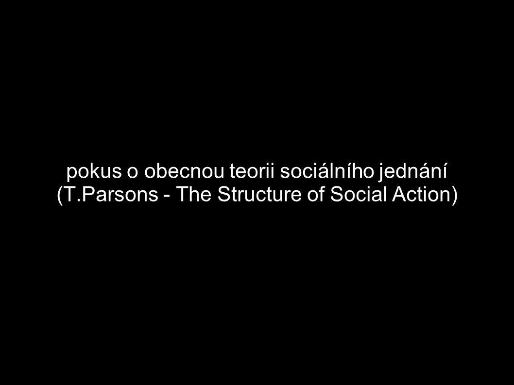1927-1937: kritika vybraných dosavadních teoretických systémů The Structure of Social Action (1937) interpretace 3 teoretických tradic, navzájem si odporujících v základních pojmech o přirozenosti člověka, společnosti, lidském chování a vědecké metodě utilitarismus/klasická ekonomická teorie, pozitivismus a idealismus každá ze škol zachycuje jen část pravdy a proto nemůže být základem pro obecnou teorii sociálního jednání A.Marshall, V.Pareto, E.Durkheim a M.Weber se pokusili překonat omezení dílčích perspektiv cíl P.