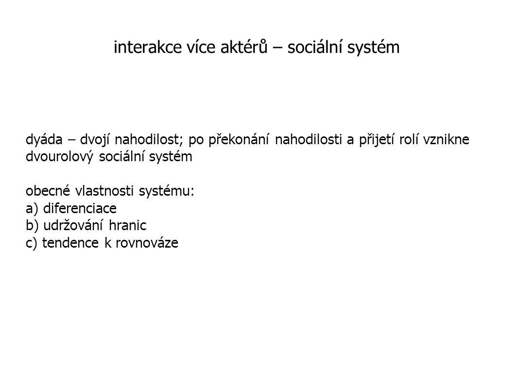 interakce více aktérů – sociální systém dyáda – dvojí nahodilost; po překonání nahodilosti a přijetí rolí vznikne dvourolový sociální systém obecné vlastnosti systému: a) diferenciace b) udržování hranic c) tendence k rovnováze