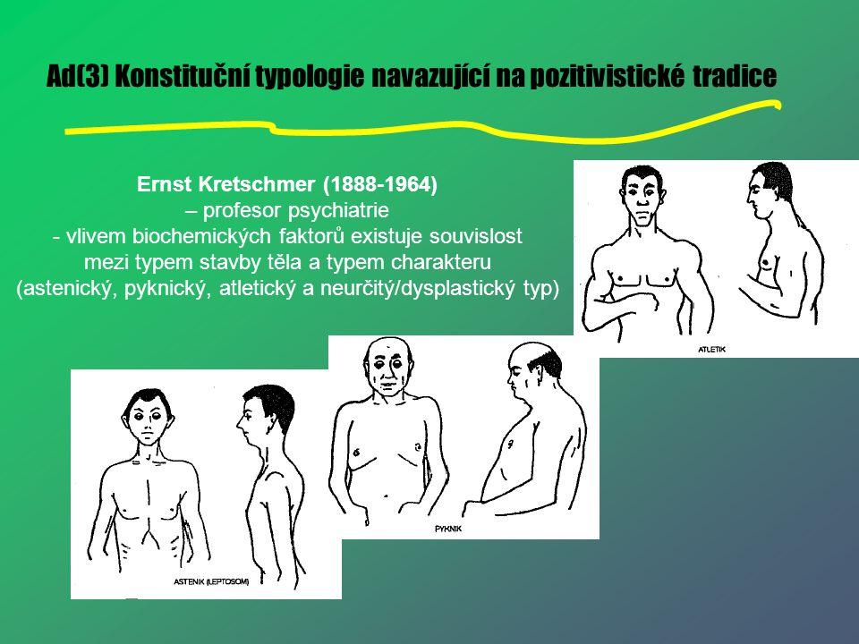 Ad(3) Konstituční typologie navazující na pozitivistické tradice Ernst Kretschmer (1888-1964) – profesor psychiatrie - vlivem biochemických faktorů ex