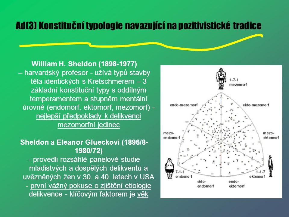 Ad(3) Konstituční typologie navazující na pozitivistické tradice William H. Sheldon (1898-1977) – harvardský profesor - užívá typů stavby těla identic