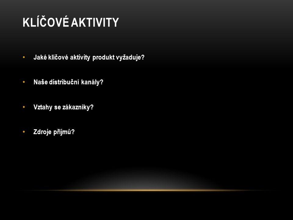 KLÍČOVÉ AKTIVITY Jaké klíčové aktivity produkt vyžaduje.