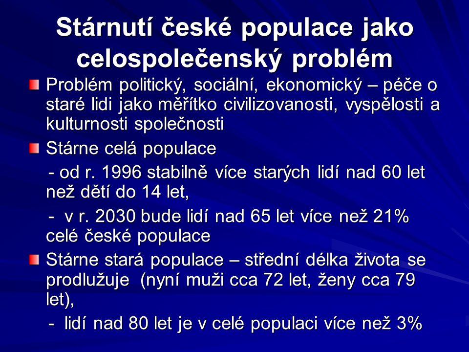 Stárnutí české populace jako celospolečenský problém Problém politický, sociální, ekonomický – péče o staré lidi jako měřítko civilizovanosti, vyspělo