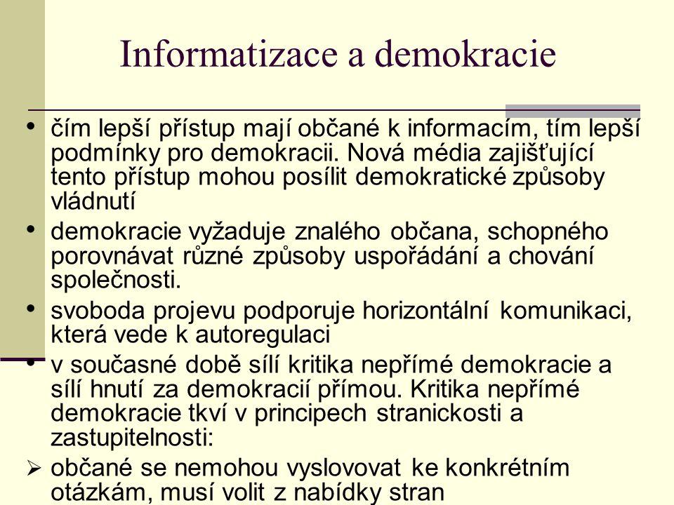 Informatizace a demokracie čím lepší přístup mají občané k informacím, tím lepší podmínky pro demokracii.