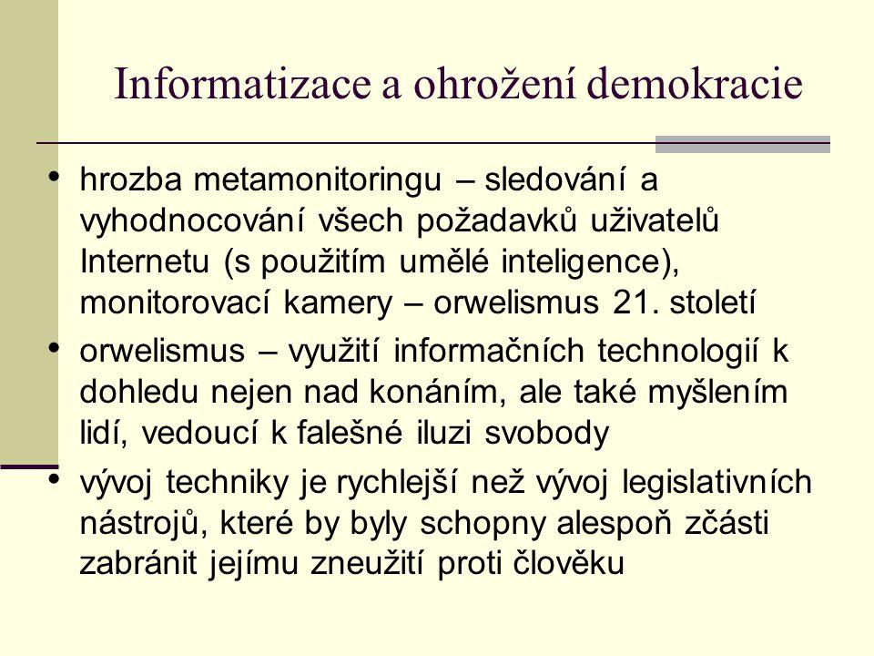 Informatizace a ohrožení demokracie hrozba metamonitoringu – sledování a vyhodnocování všech požadavků uživatelů Internetu (s použitím umělé inteligence), monitorovací kamery – orwelismus 21.