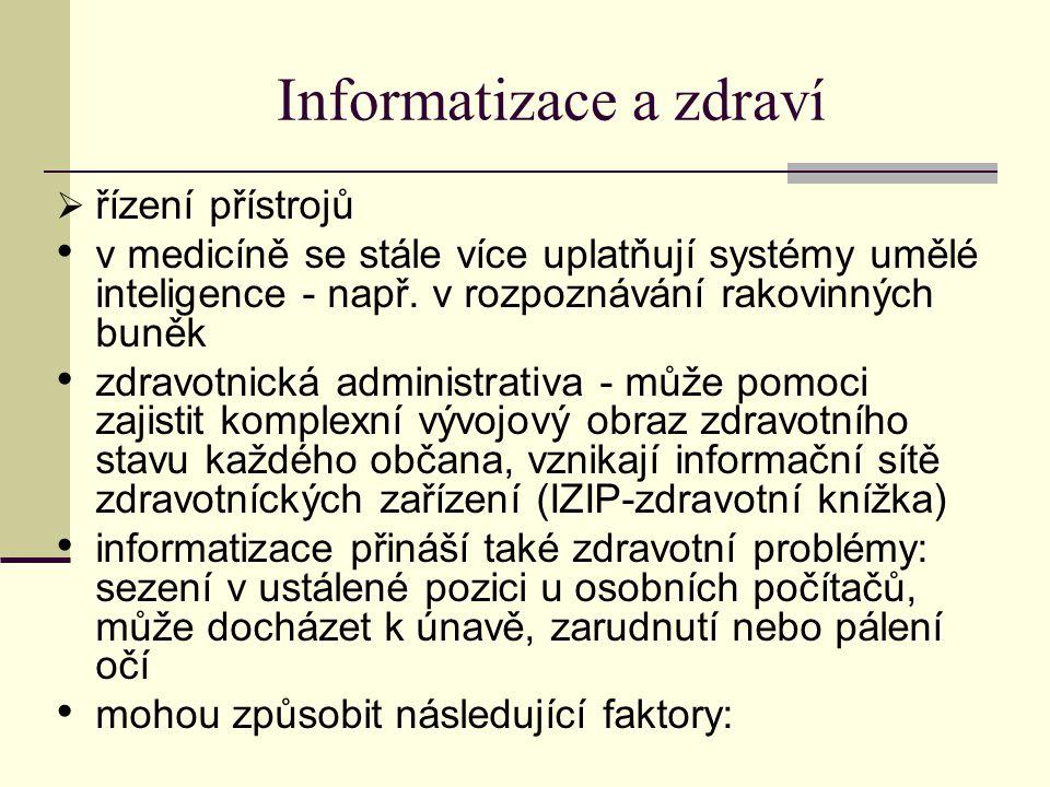 Informatizace a zdraví  řízení přístrojů v medicíně se stále více uplatňují systémy umělé inteligence - např.
