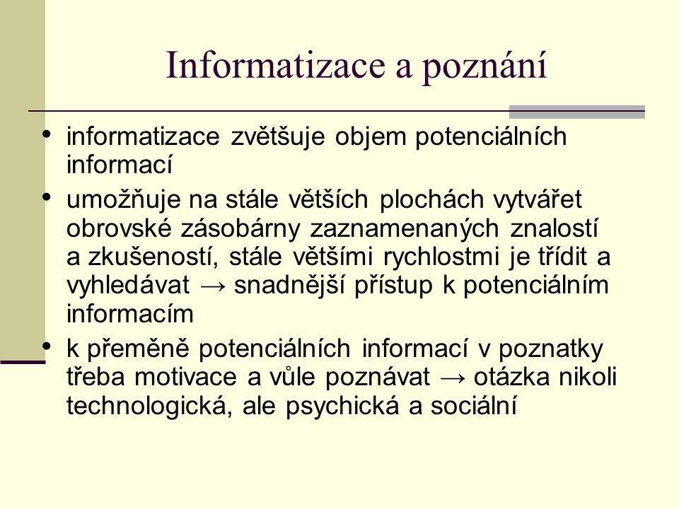 Informatizace a poznání informatizace zvětšuje objem potenciálních informací umožňuje na stále větších plochách vytvářet obrovské zásobárny zaznamenaných znalostí a zkušeností, stále většími rychlostmi je třídit a vyhledávat → snadnější přístup k potenciálním informacím k přeměně potenciálních informací v poznatky třeba motivace a vůle poznávat → otázka nikoli technologická, ale psychická a sociální