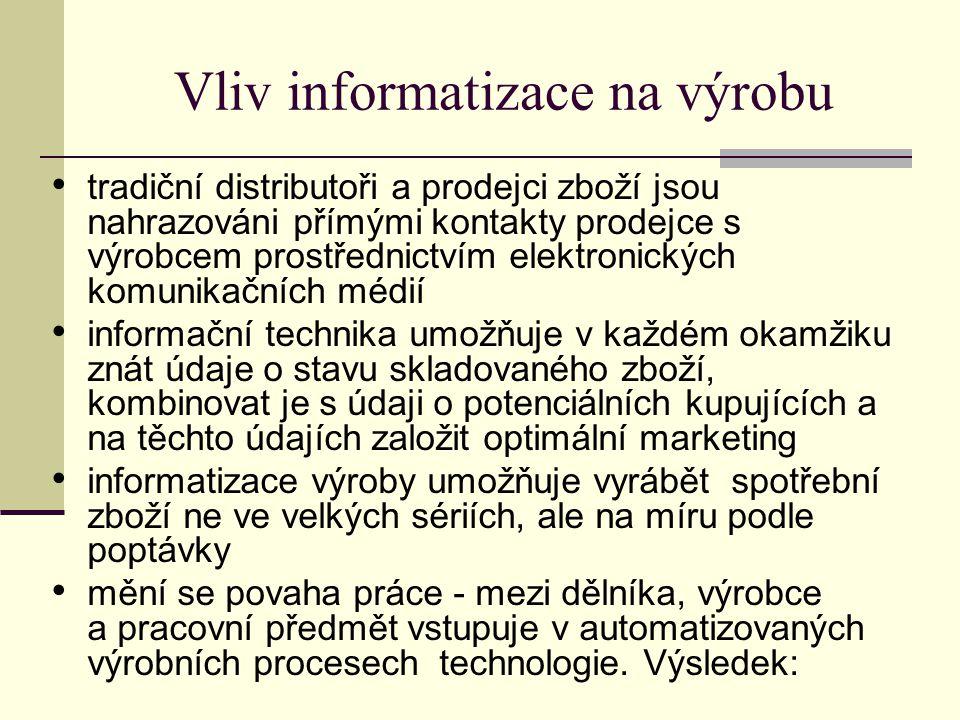 Vliv informatizace na výrobu tradiční distributoři a prodejci zboží jsou nahrazováni přímými kontakty prodejce s výrobcem prostřednictvím elektronických komunikačních médií informační technika umožňuje v každém okamžiku znát údaje o stavu skladovaného zboží, kombinovat je s údaji o potenciálních kupujících a na těchto údajích založit optimální marketing informatizace výroby umožňuje vyrábět spotřební zboží ne ve velkých sériích, ale na míru podle poptávky mění se povaha práce - mezi dělníka, výrobce a pracovní předmět vstupuje v automatizovaných výrobních procesech technologie.