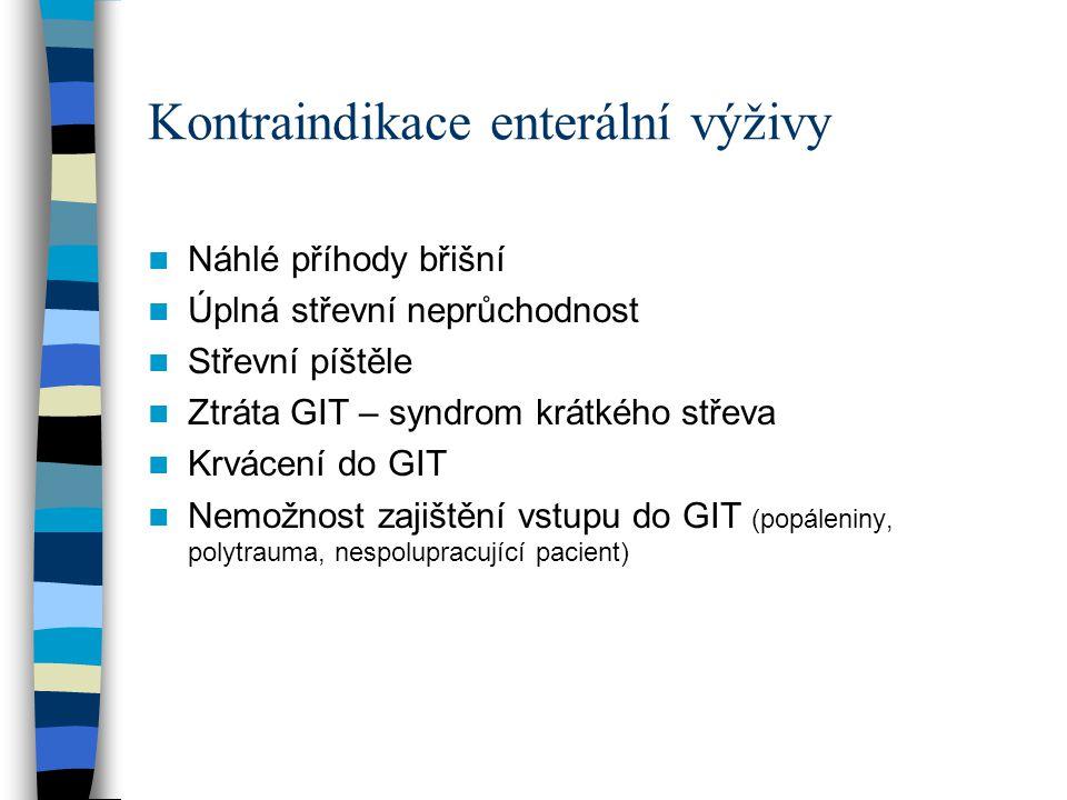 Kontraindikace enterální výživy Náhlé příhody břišní Úplná střevní neprůchodnost Střevní píštěle Ztráta GIT – syndrom krátkého střeva Krvácení do GIT