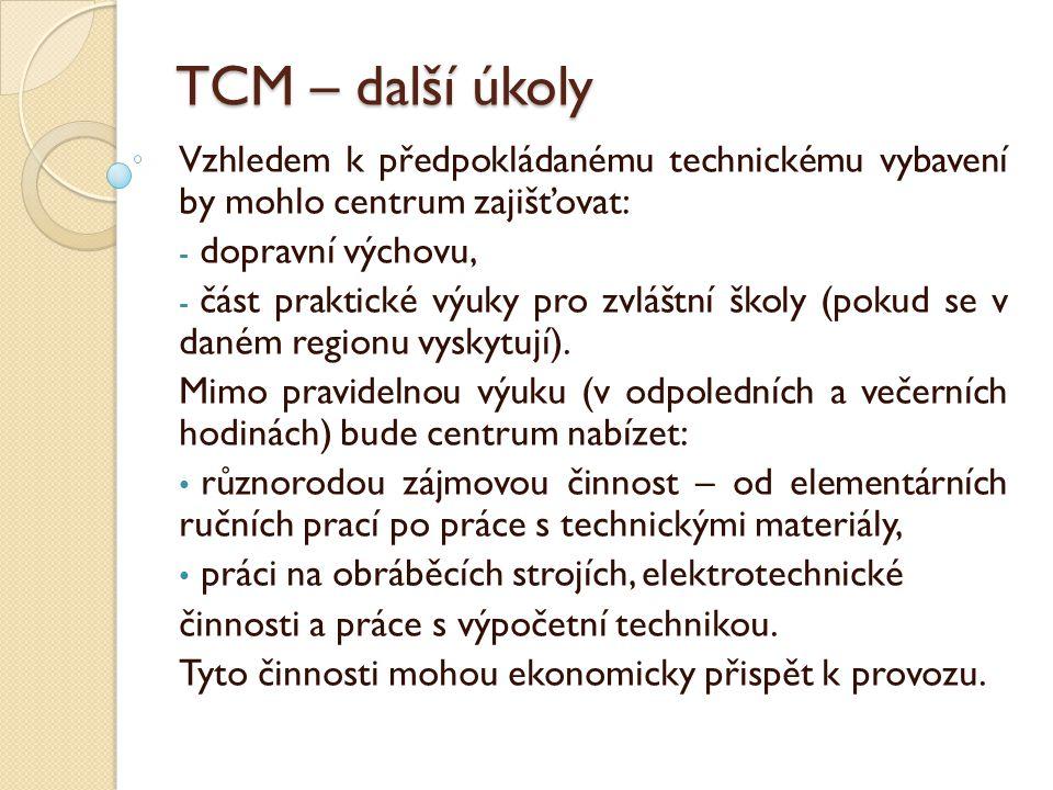 TCM – další úkoly Vzhledem k předpokládanému technickému vybavení by mohlo centrum zajišťovat: - dopravní výchovu, - část praktické výuky pro zvláštní školy (pokud se v daném regionu vyskytují).