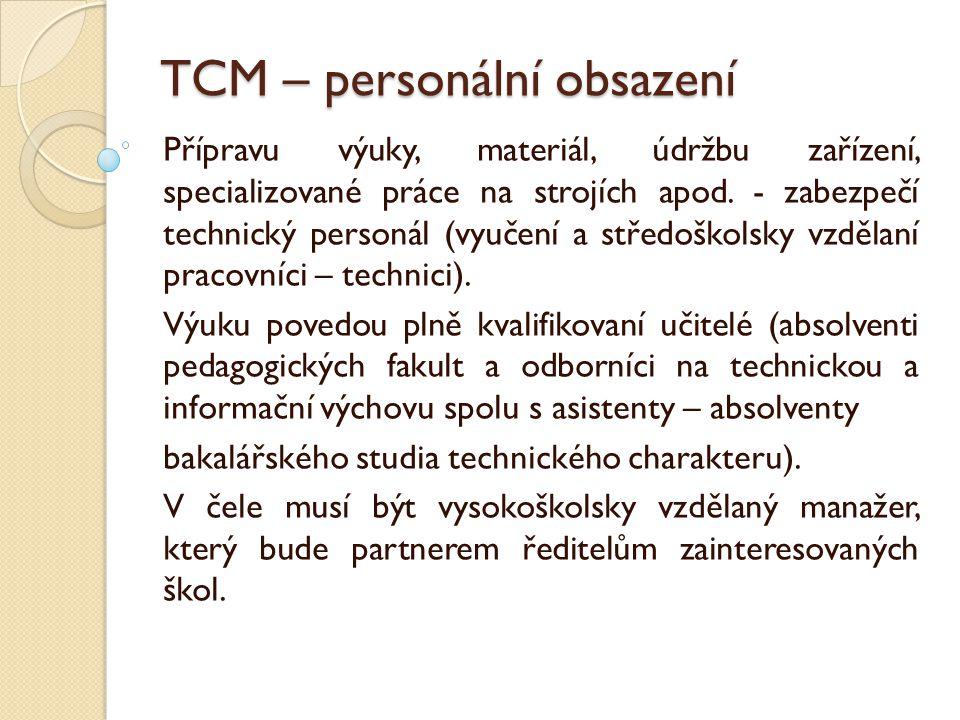 TCM – personální obsazení Přípravu výuky, materiál, údržbu zařízení, specializované práce na strojích apod.
