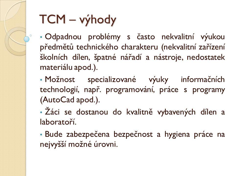 TCM – výhody Odpadnou problémy s často nekvalitní výukou předmětů technického charakteru (nekvalitní zařízení školních dílen, špatné nářadí a nástroje, nedostatek materiálu apod.).