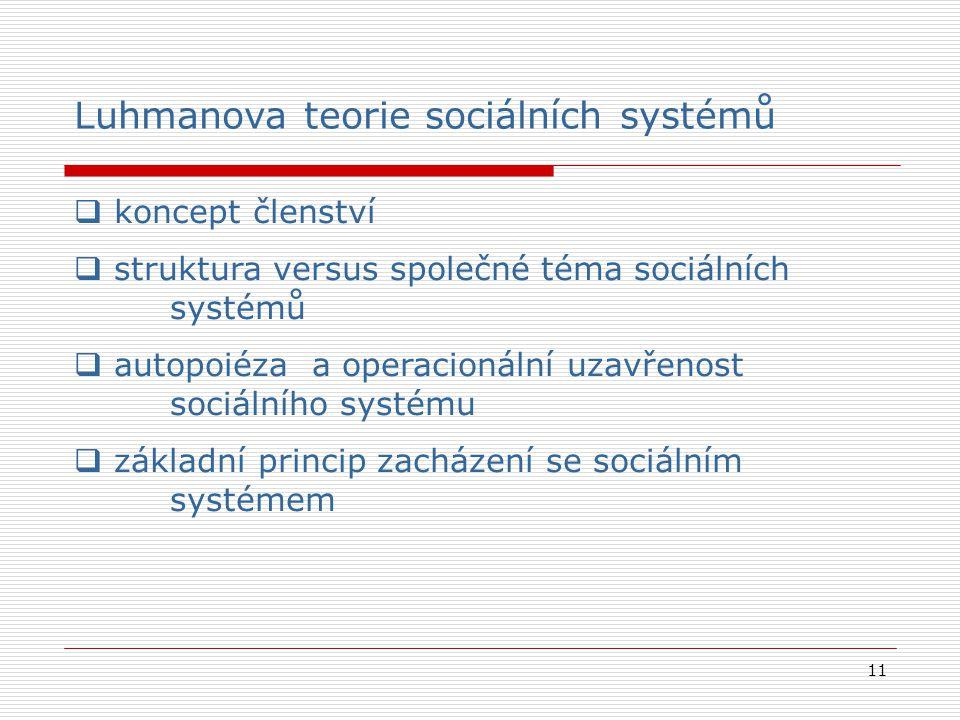 11 Luhmanova teorie sociálních systémů  koncept členství  struktura versus společné téma sociálních systémů  autopoiéza a operacionální uzavřenost sociálního systému  základní princip zacházení se sociálním systémem