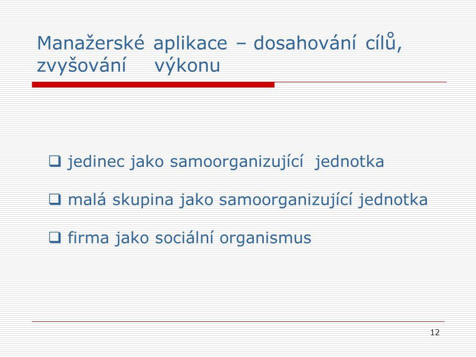 12  jedinec jako samoorganizující jednotka  malá skupina jako samoorganizující jednotka  firma jako sociální organismus Manažerské aplikace – dosah