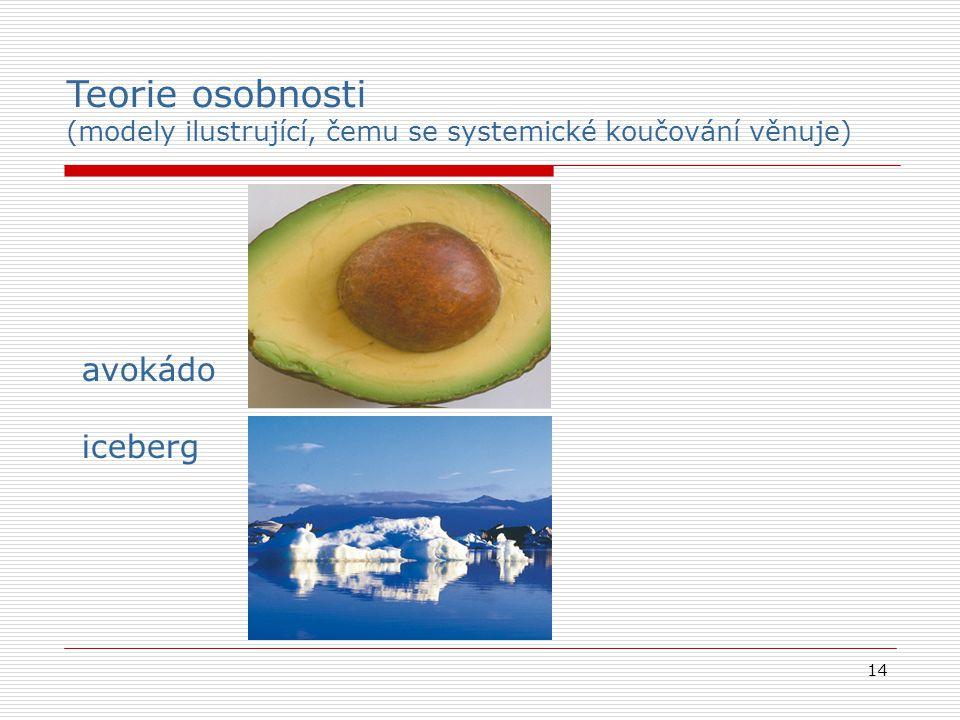 14 avokádo iceberg Teorie osobnosti (modely ilustrující, čemu se systemické koučování věnuje)