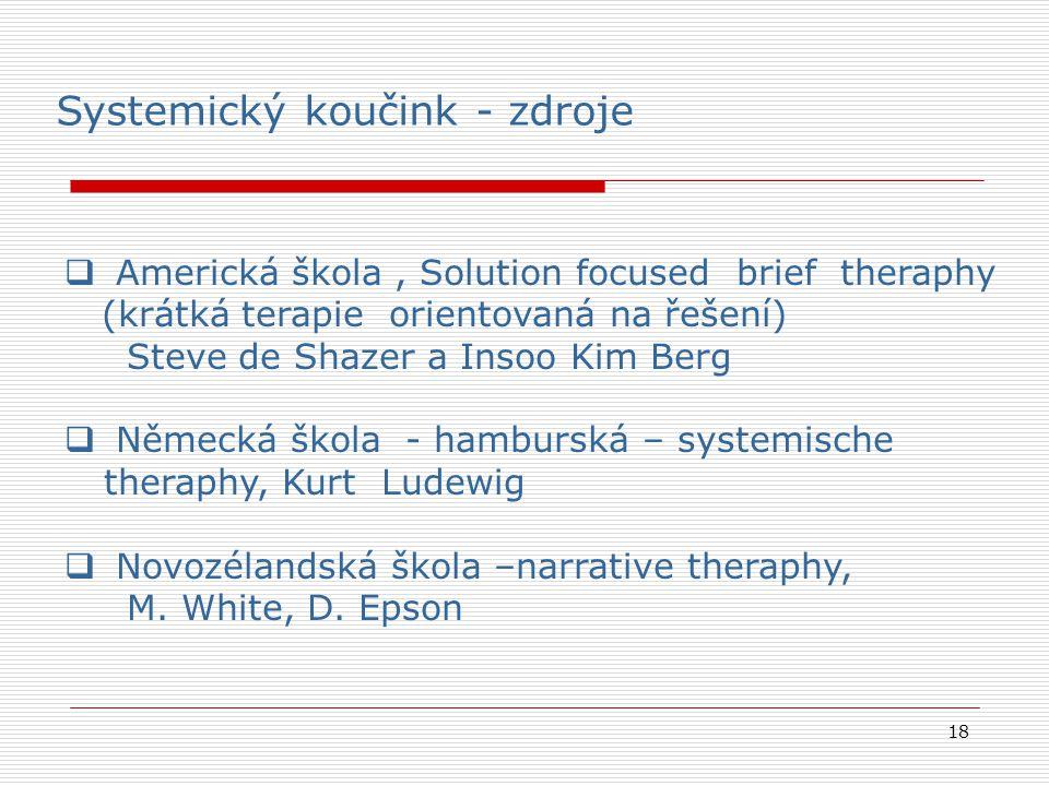 18  Americká škola, Solution focused brief theraphy (krátká terapie orientovaná na řešení) Steve de Shazer a Insoo Kim Berg  Německá škola - hamburs