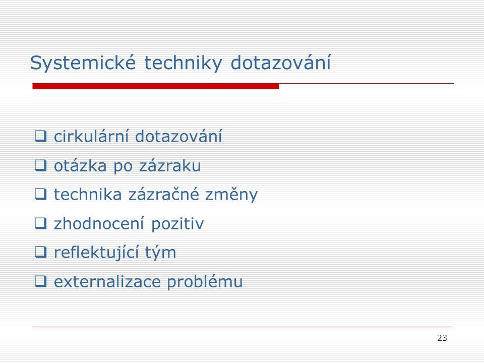 23  cirkulární dotazování  otázka po zázraku  technika zázračné změny  zhodnocení pozitiv  reflektující tým  externalizace problému Systemické techniky dotazování