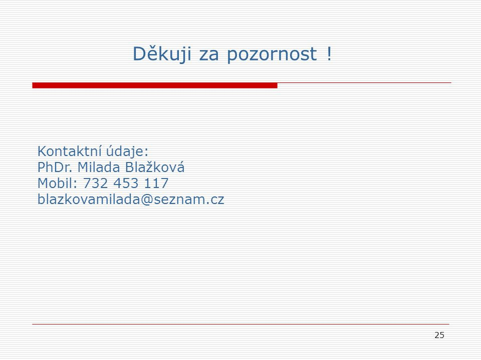 25 Kontaktní údaje: PhDr. Milada Blažková Mobil: 732 453 117 blazkovamilada@seznam.cz Děkuji za pozornost !