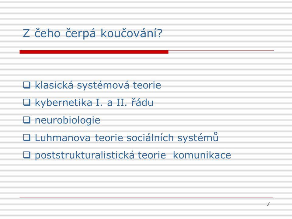 7 Z čeho čerpá koučování?  klasická systémová teorie  kybernetika I. a II. řádu  neurobiologie  Luhmanova teorie sociálních systémů  poststruktur