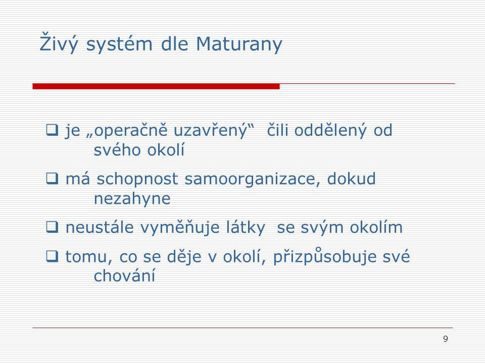 """9  je """"operačně uzavřený čili oddělený od svého okolí  má schopnost samoorganizace, dokud nezahyne  neustále vyměňuje látky se svým okolím  tomu, co se děje v okolí, přizpůsobuje své chování Živý systém dle Maturany"""