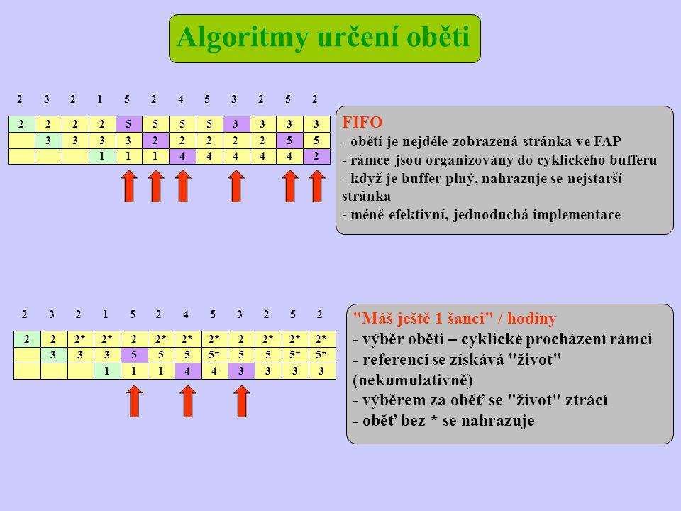Algoritmy určení oběti FIFO - obětí je nejdéle zobrazená stránka ve FAP - rámce jsou organizovány do cyklického bufferu - když je buffer plný, nahrazuje se nejstarší stránka - méně efektivní, jednoduchá implementace Máš ještě 1 šanci / hodiny - výběr oběti – cyklické procházení rámci - referencí se získává život (nekumulativně) - výběrem za oběť se život ztrácí - oběť bez * se nahrazuje 2 2 22* 3 2 2 2152453252 3335555*55 111443333 2 2 222 3 55553333 2152453252 33332222255 111444442