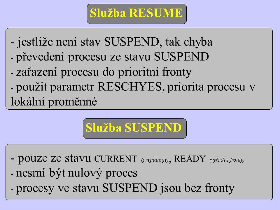 Implementace služby SUSPEND - musí zpracovat proces ve stavu READY, CURRENT - ze stavu READY se vyřadí z fronty - ze stavu CURRENT (proces suspenduje sám sebe) se vyvolá přeplánování - ve stavové informaci aktivního procesu předáme službě RESCHED stav PRSUSP #include /*------------------------------------------------------- služba převede proces ze stavu READY nebo CURRENT do stavu SUSPEND -------------------------------------------------------*/ int suspend(short pid) { struct pentry *pptr; int prio; if(pid==NULLPROC || (pptr=&proctab[pid])->pstate!=PRCURR&&pptr->pstate!=PRREADY) return SYSERR; PRIO=pptr->pprio; if(pptr->state==PRREADY) { dequeue(pid); pptr->pstate=PRSUSP; } else { pptr->pstate=PRSUSP; resched(); } return PRIO; }