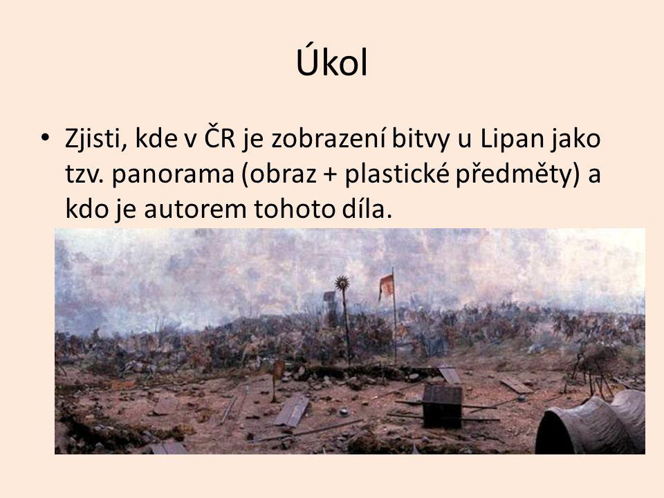 Úkol Zjisti, kde v ČR je zobrazení bitvy u Lipan jako tzv.
