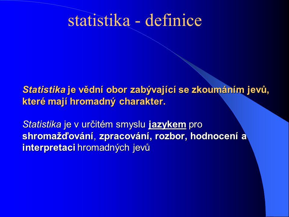 Statistika je vědní obor zabývající se zkoumáním jevů, které mají hromadný charakter. Statistika je v určitém smyslu jazykem pro shromažďování, zpraco