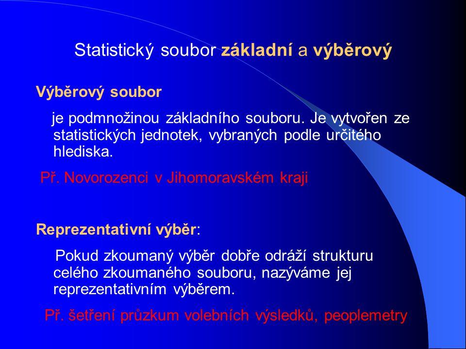 Statistický soubor základní a výběrový Výběrový soubor je podmnožinou základního souboru. Je vytvořen ze statistických jednotek, vybraných podle určit