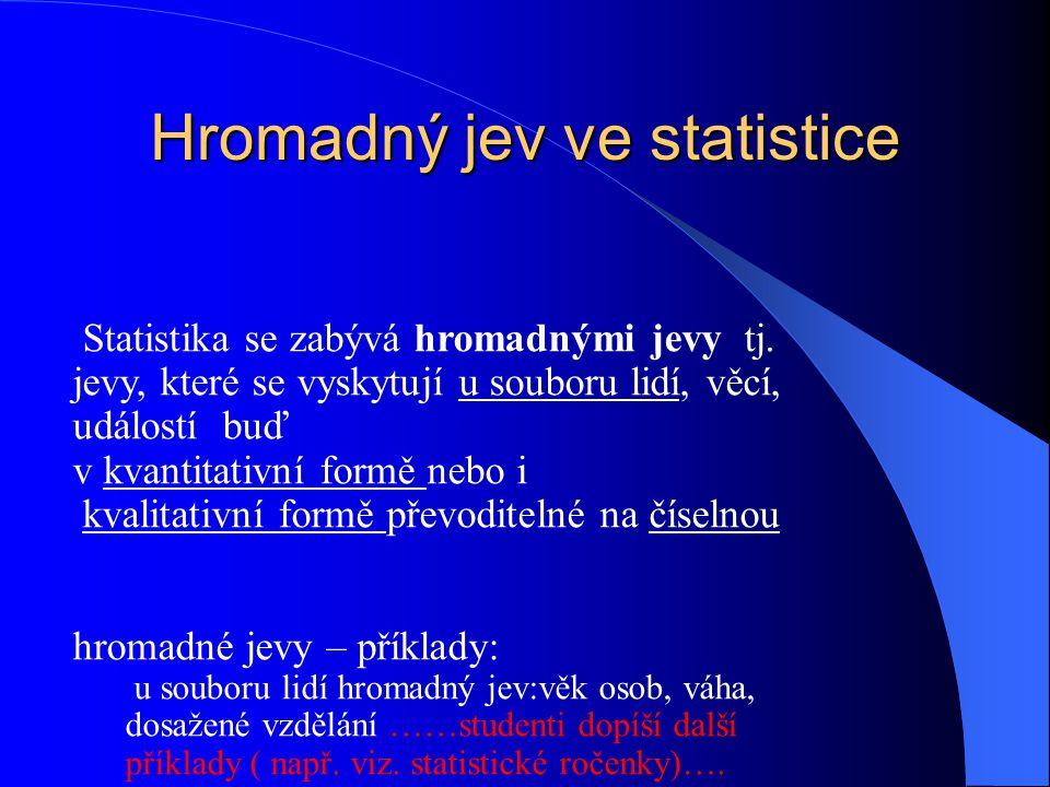 Hromadný jev ve statistice Statistika se zabývá hromadnými jevy tj. jevy, které se vyskytují u souboru lidí, věcí, událostí buď v kvantitativní formě